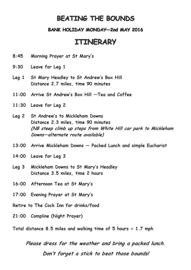 Beating the Bounds - Itinerary